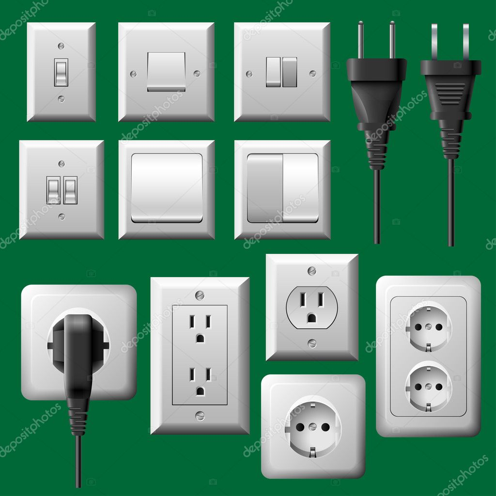 Power outlet, light switch and electrical plug set — Stock Vector ...