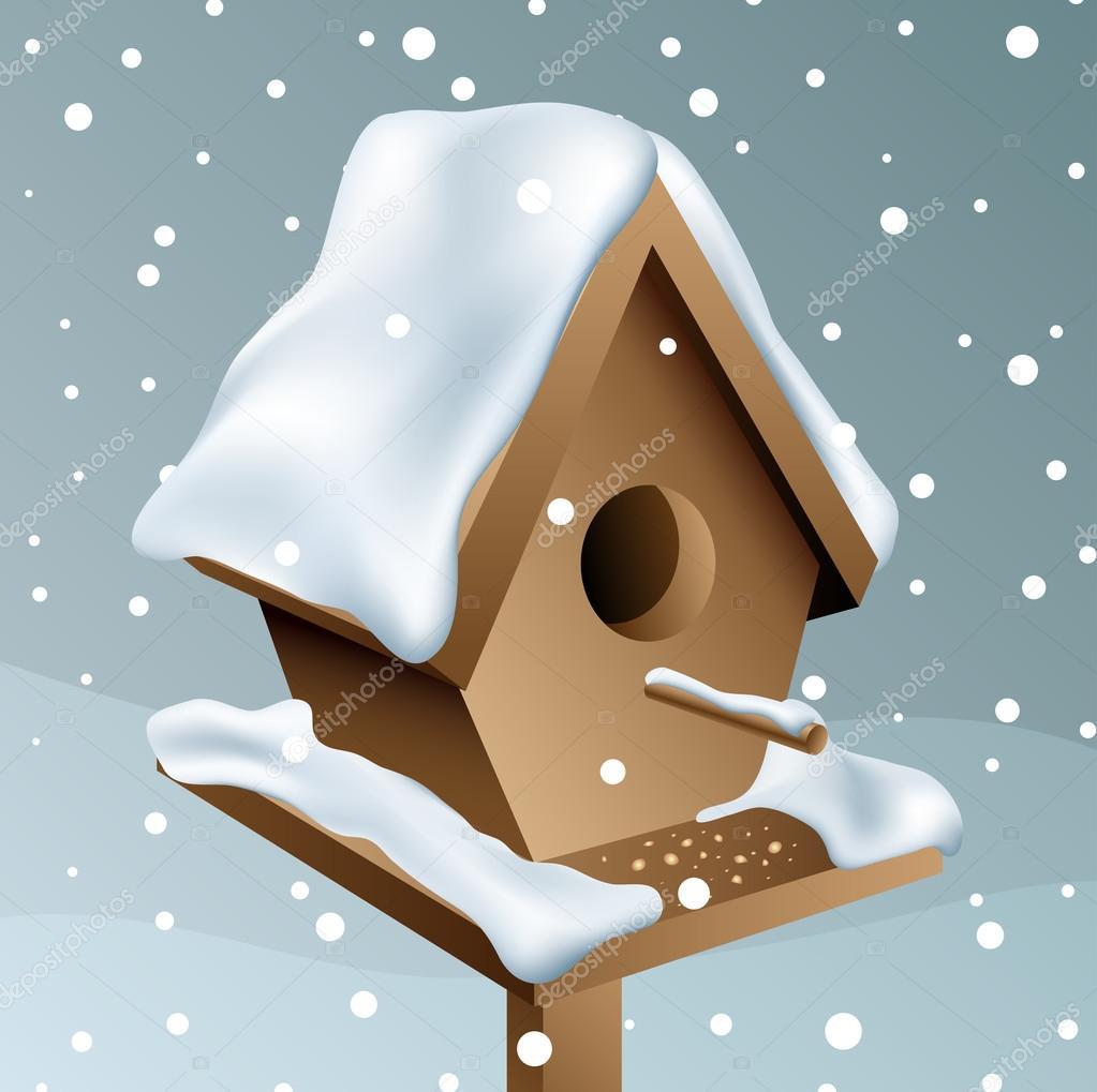 Snowy wood birdhouse