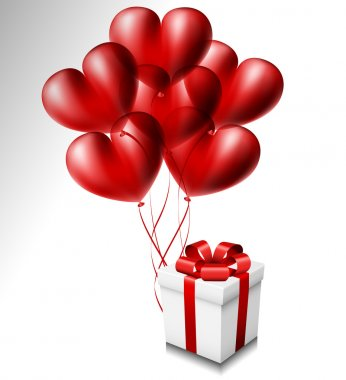 Heart balloon set with gift box