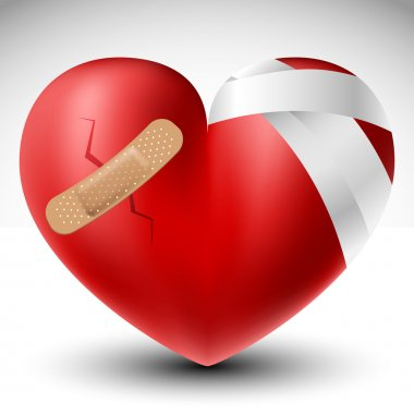 Broken 3d red heart with bandage stock vector