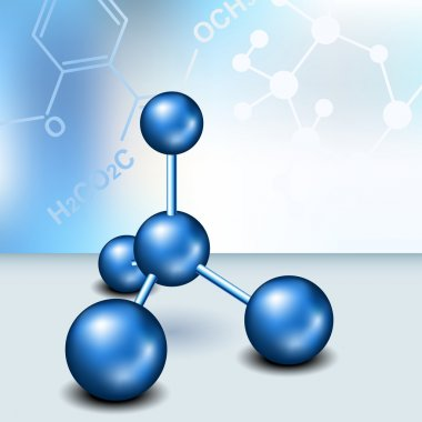 Chemistry background with blue molecule