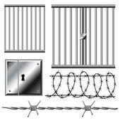 Fotografia griglia di prigione con filo spinato set