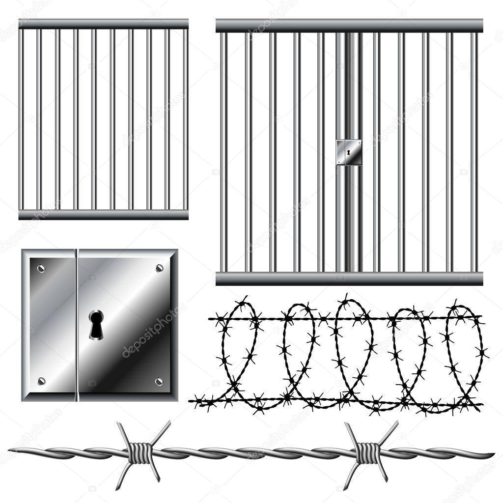 Gefängnis-Raster mit Stacheldraht — Stockvektor © Helioshammer #25057943
