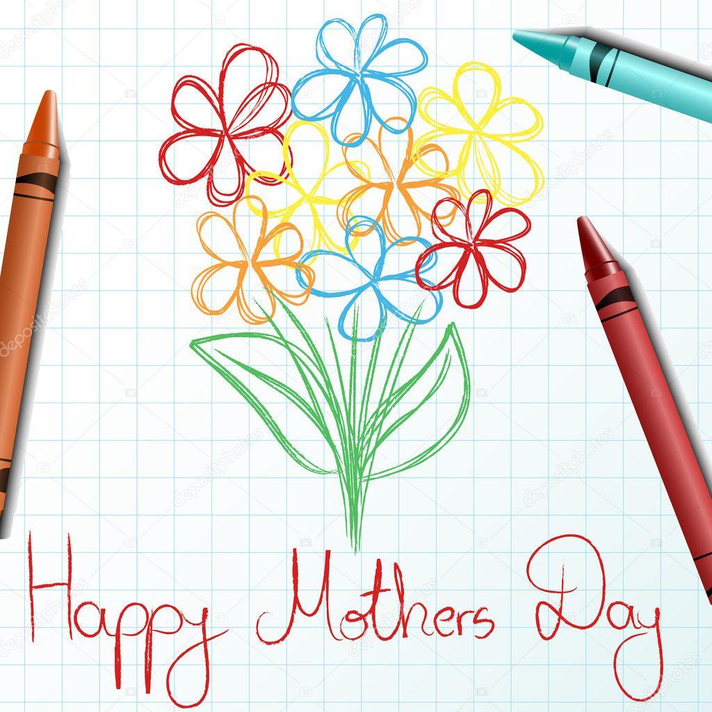 Anneler Günü çiçek Ve Mum Boya Ile çizim çocuklar Stok Vektör