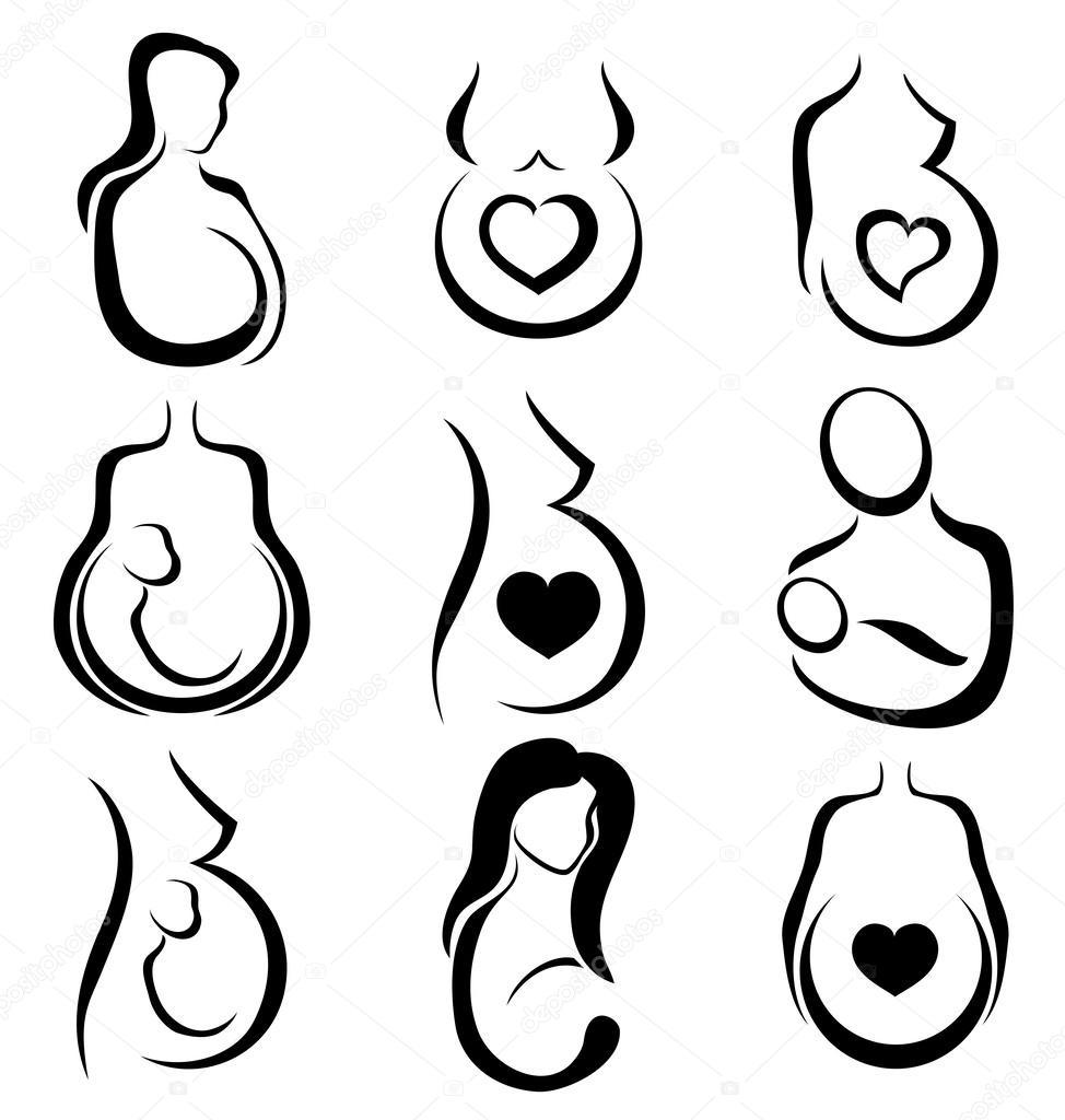 Jeu De Symboles De La Femme Enceinte Image Vectorielle