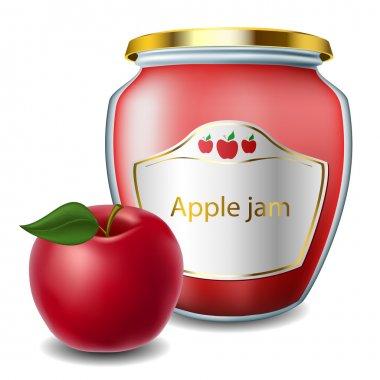 Apple jam with jar
