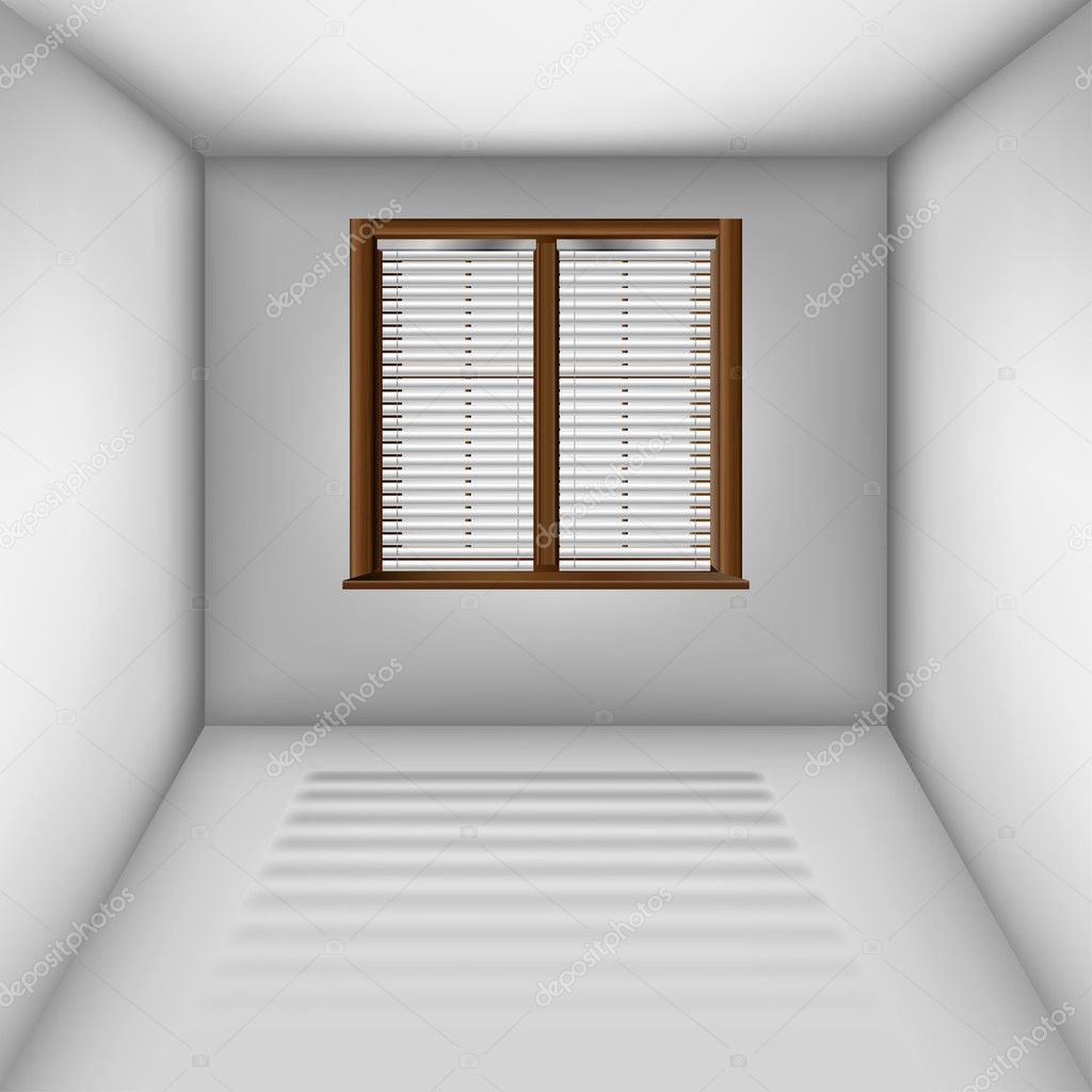 Raum mit Fenster und Jalousien — Stockvektor