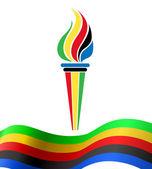 olympijská pochodeň symbol s vlajkou