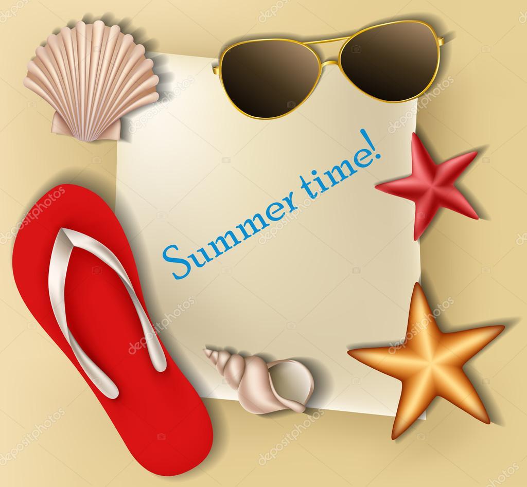 marco de texto de verano con conchas y estrellas — Archivo Imágenes ...