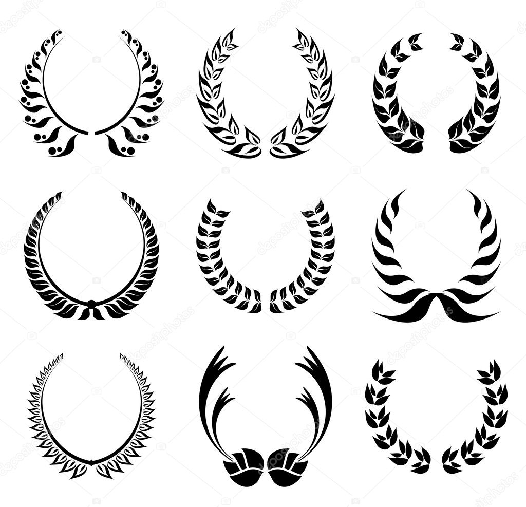 Laurel wreath symbol set