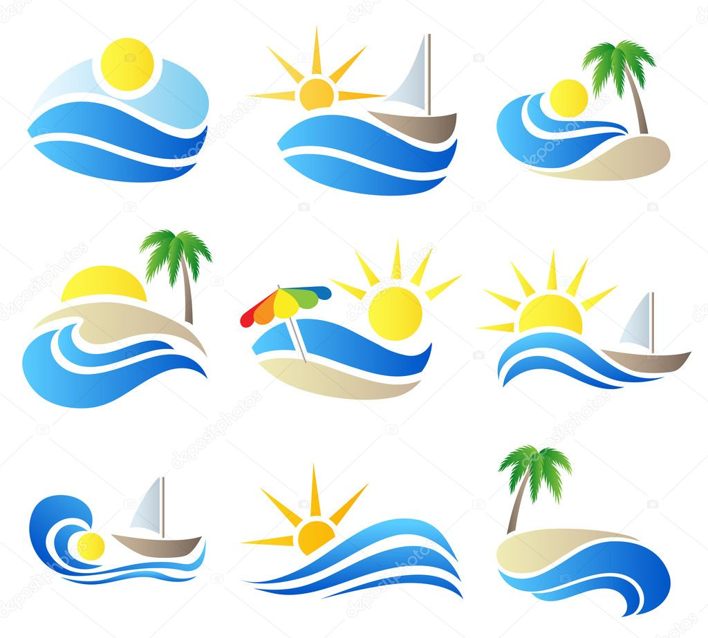 Summer vacation in nature icon set