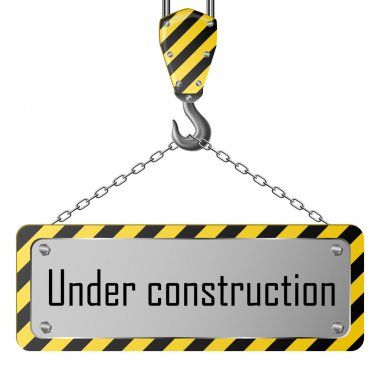 Construction plate with crane hook and chain