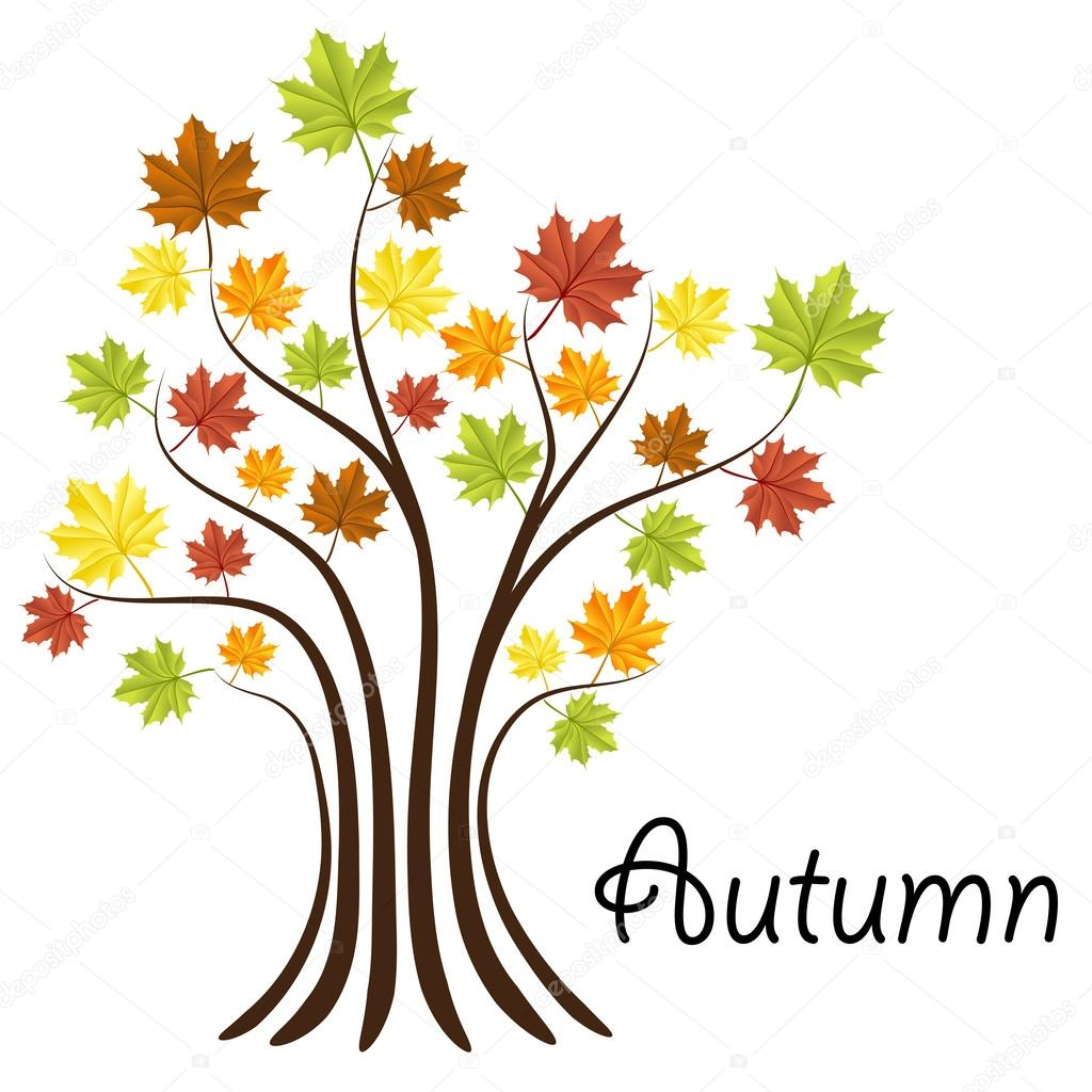 Autumn tree with colorful leaves