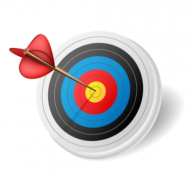 Arrow in middle of target stock vector