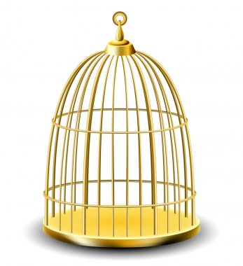 Golden empty bird cage isolated on white stock vector