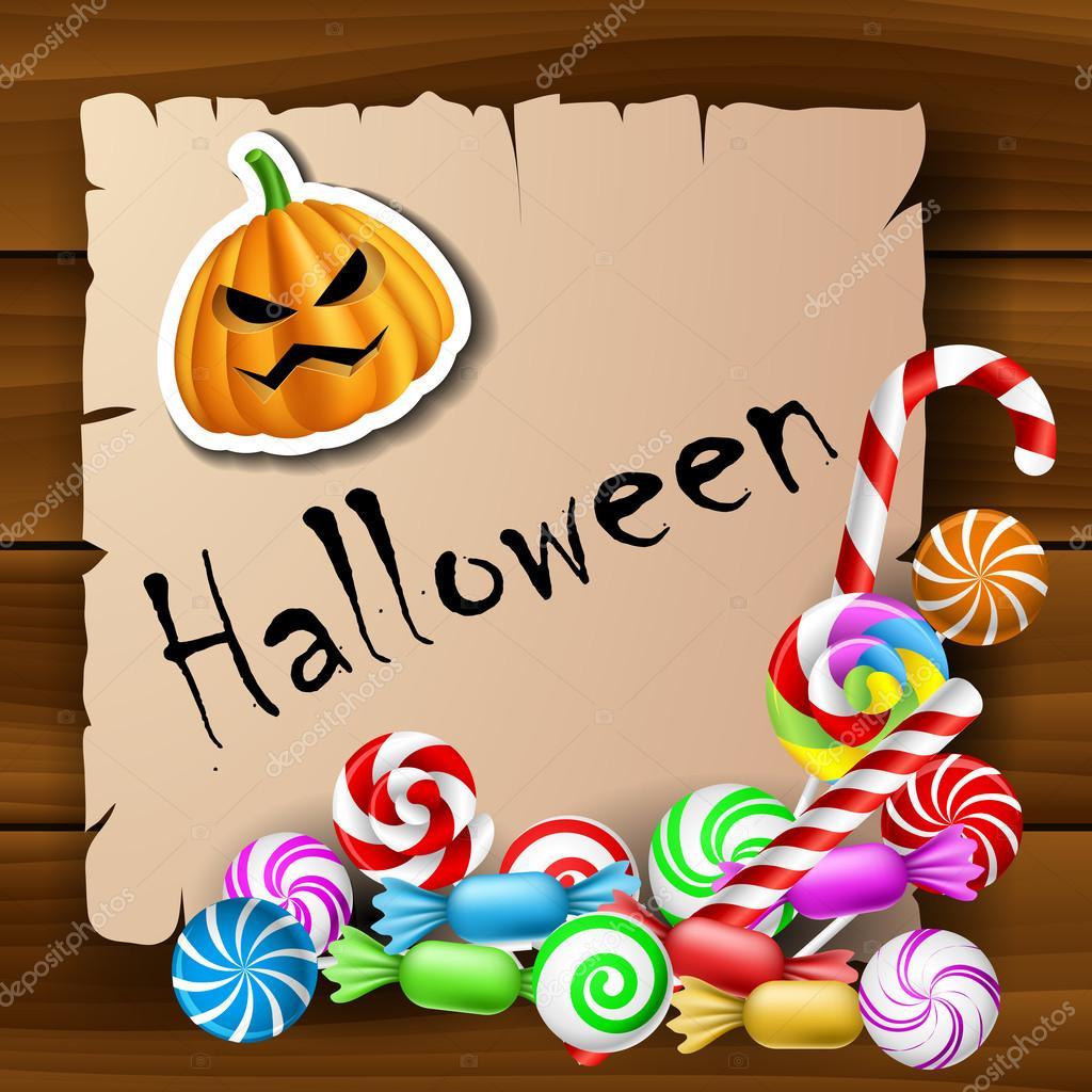 marco de texto Halloween con caramelos y la calcomanía de calabaza ...