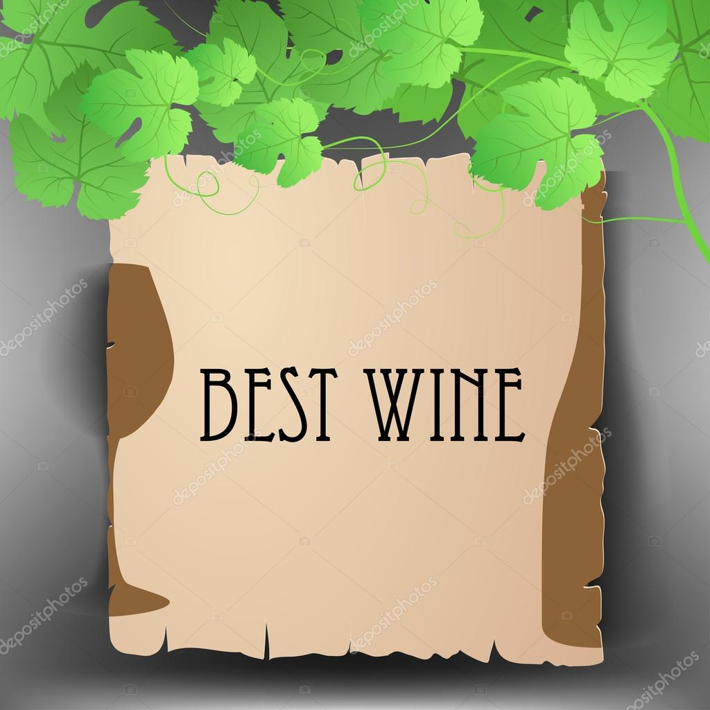 Old paper text frame with grape leaves