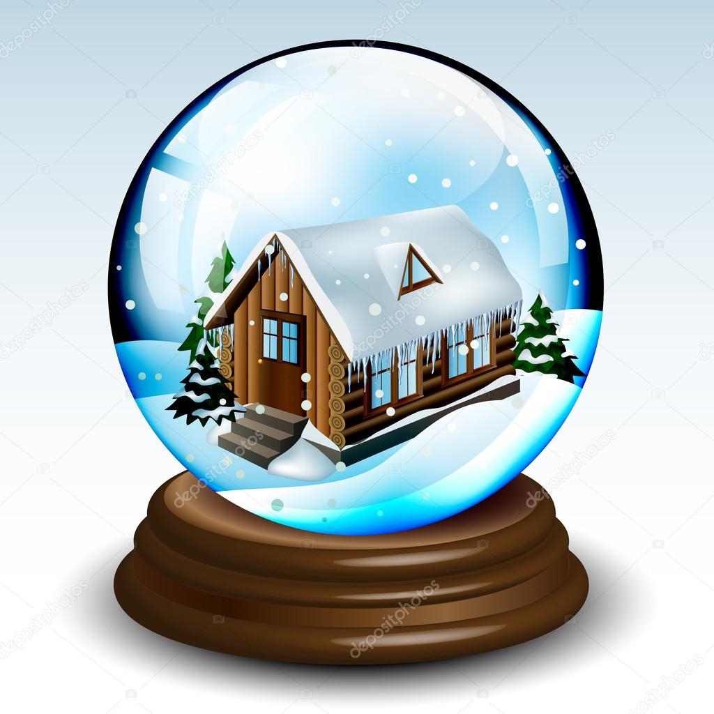 Snow globe with winter house