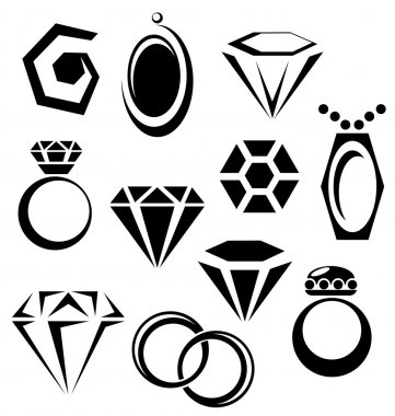 Jewelry icon set with black gem, ring, and pendant symbols stock vector