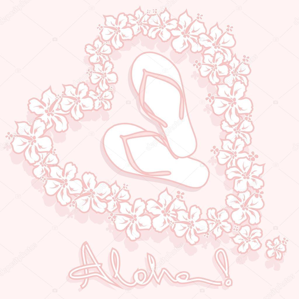 Illustration of hawaiian flower garland and flip flops stock illustration of hawaiian flower garland and flip flops stock vector izmirmasajfo
