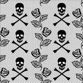 Fotografia seamless pattern di rose e teschi