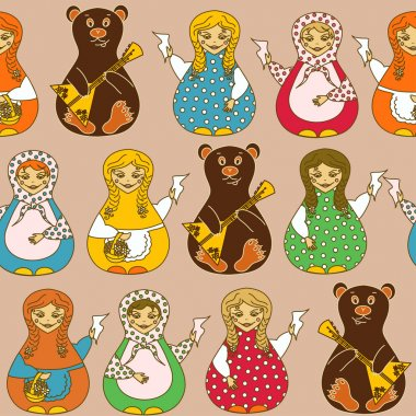 Seamless pattern of Russian dolls and bears
