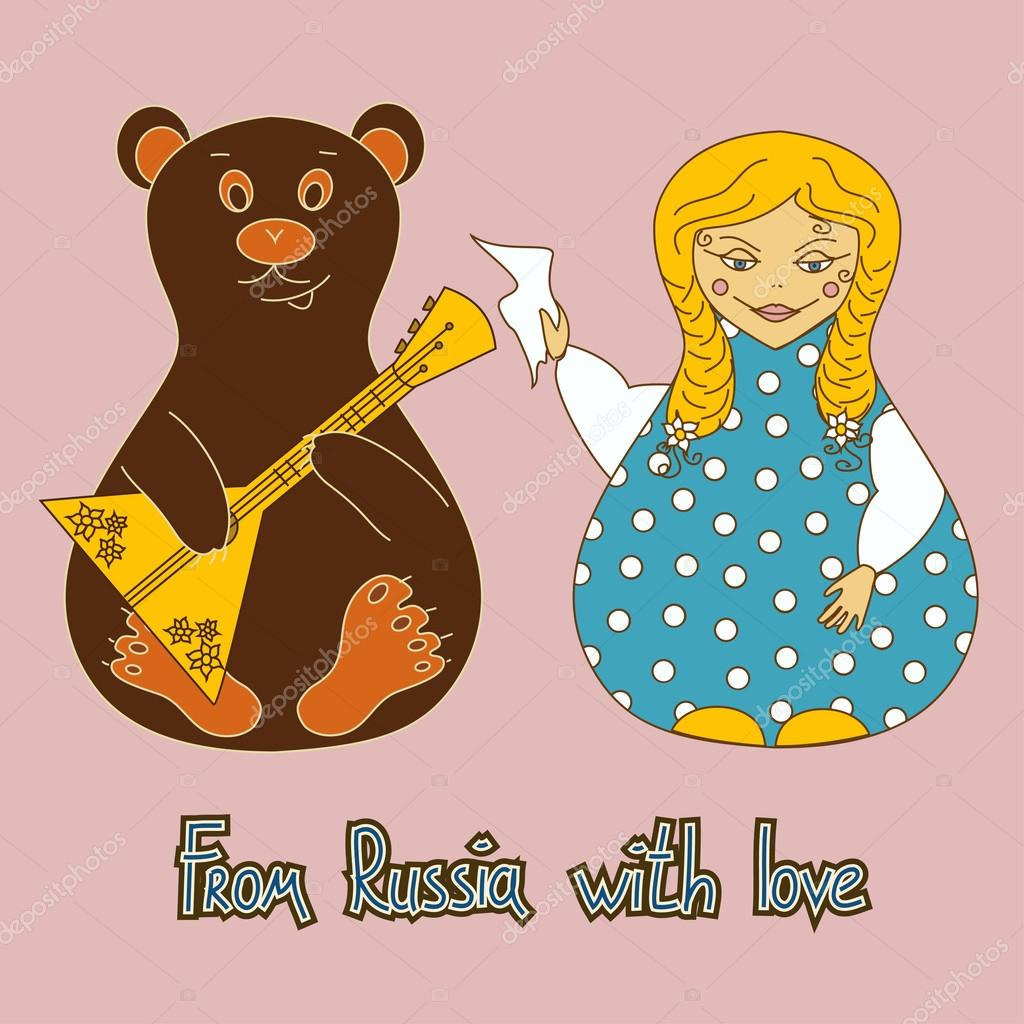 Background with Russian doll and bear