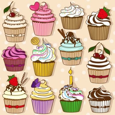 Set of isolated icons of cupcakes