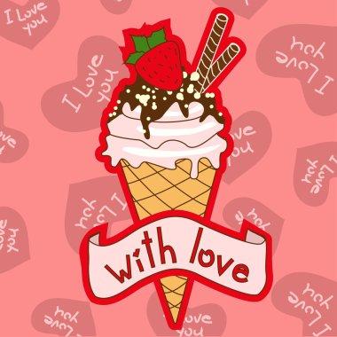 Background with ice cream cone