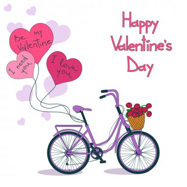 Card for Valentine's day with bicycle
