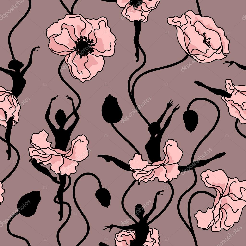 Seamless pattern of stylized dance of flowers