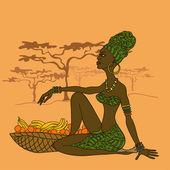 Fotografie schöne Afrikanische Mädchen mit Obstkorb