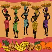 Fotografie Afrikanische nahtlose Muster von Früchten und Straßenverkäufer