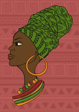 Portrait of beautiful African girl in a headscarf
