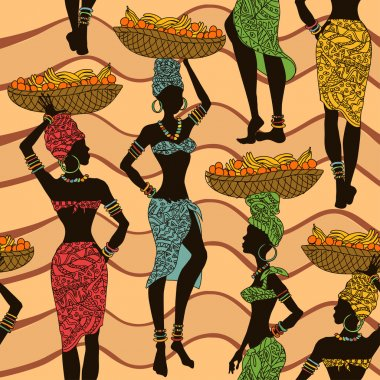 African seamless pattern of street vendors