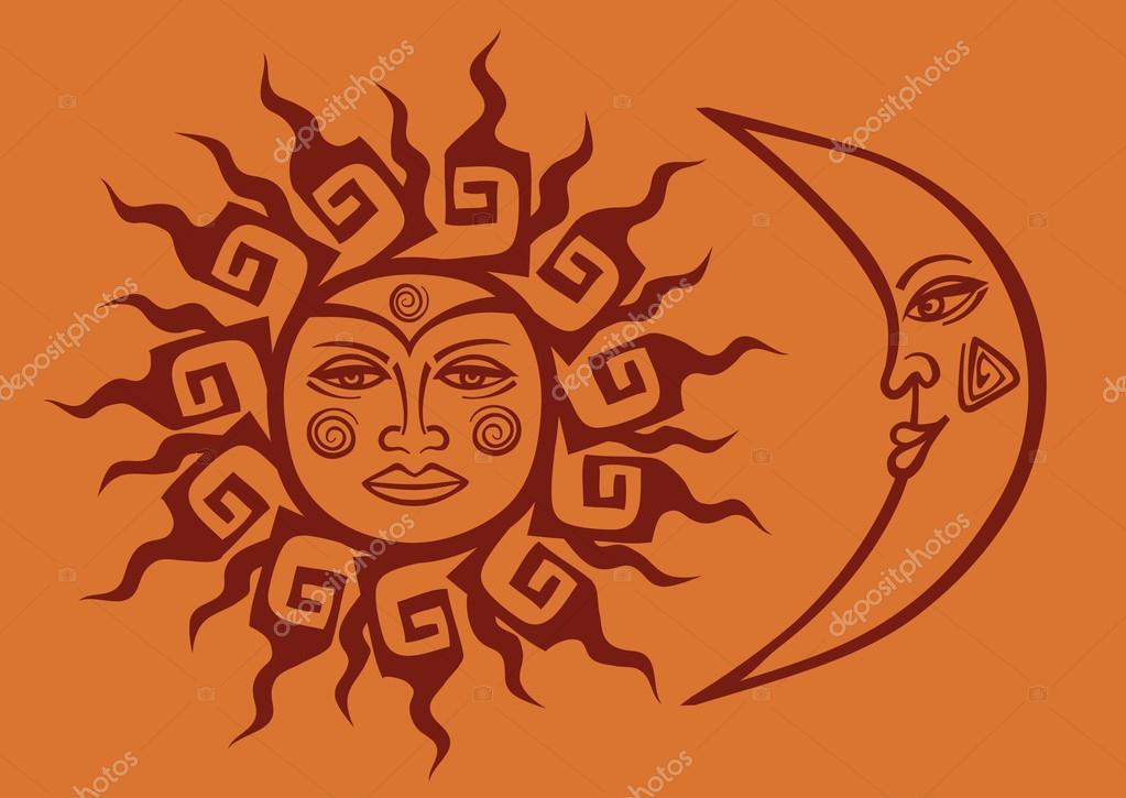 Icono De Tribal Sol Y Luna Vector De Stock Annykos 30442993