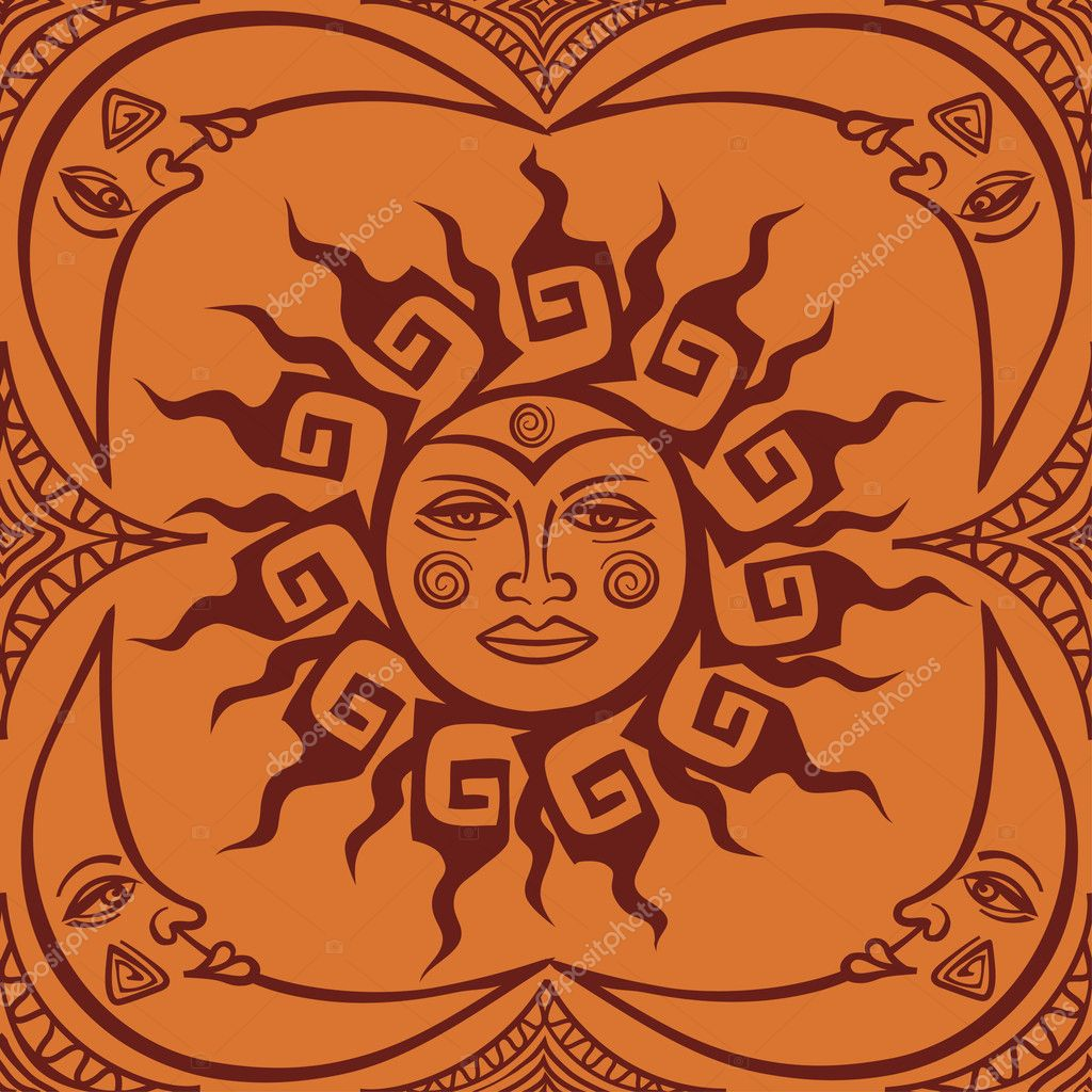 Seamless pattren of tribal sun and crescent moon