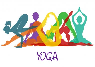 Seven silhouettes of girl in yoga poses