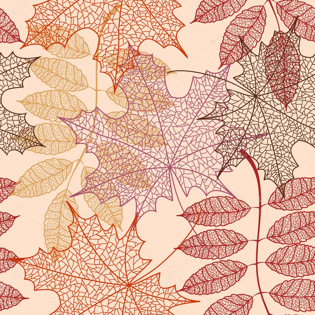 Seamless pattern of autumn leaves