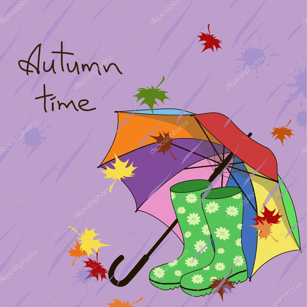 Background with umbrella and gumboots