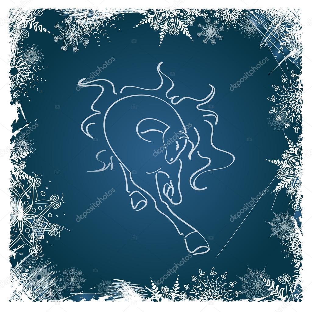 tarjeta de año nuevo con caballo enmarcado por los copos de nieve ...