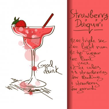 Illustration with Strawberry Daiquiri cocktail