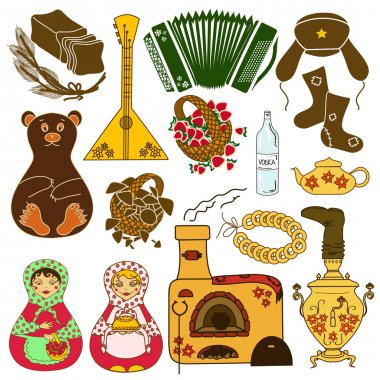 Set of isolated icons with Russian symbols