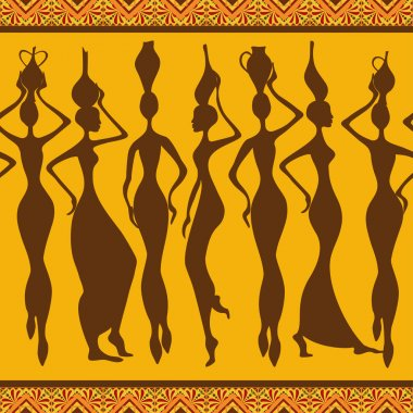 African seamless pattern with women