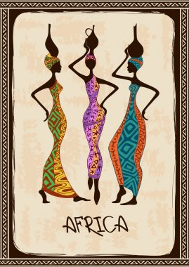 Illustration with three beautiful African women