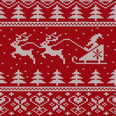 Christmas and New Year knitted seamless pattern or card