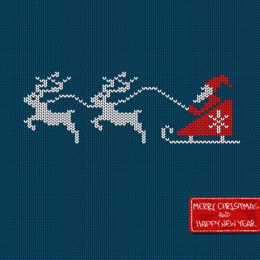 Christmas and New Year knitted pattern card