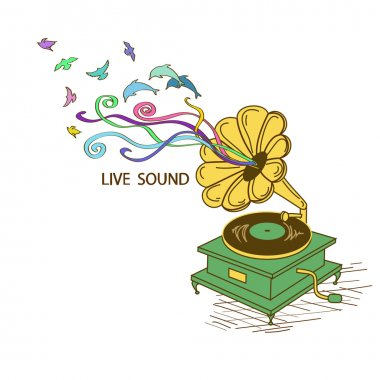 Colorful illustration with gramophone