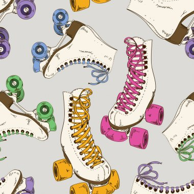Seamless pattern with roller skates
