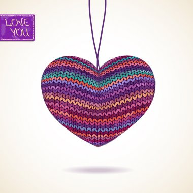 Love greeting card with knitted heart